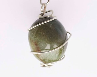 Wire Wrapped Moss Agate Necklace