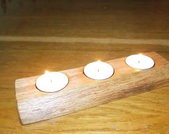 FREE SHIPPING-rustic candlestick-wood candle holder-log tealight-oak candlestick