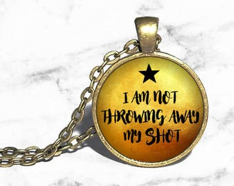 Alexander Hamilton, I am not throwing away my shot, Hamilton Musical Necklace, Musical Theatre, Broadway Westend, Necklace Keychain Ring