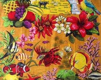 Vintage linen tea towel - Queensland