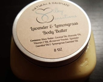 Lavender & Lemongrass Body Butter, Citrus Body Butter, All Natural Body Butter, 4oz Body Butter, 8oz Body Butter, 16oz Body Butter