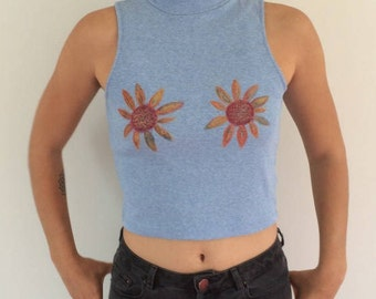 Hand-painted Up-cycled Glitter Flower Polo Neck Crop Top