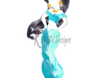 Disney Princess Jasmine Watercolor-INSTANT DIGITAL DOWNLOAD