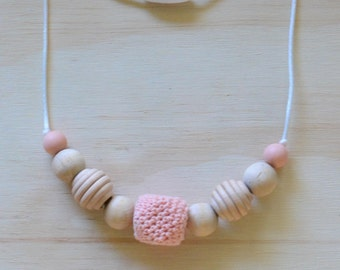 Wood and Silicone Teething Necklace for Mommy with Pink/Gray/Green Crocheted Bead