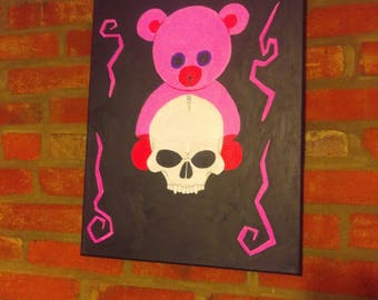 """Painting Teddy Bear Skull - One of a kind - 16""""x20"""" Commisions Accepted - Pink Black"""