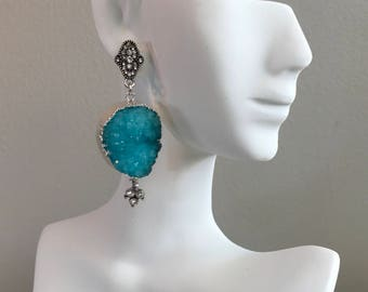 Druzy drop statement earrings