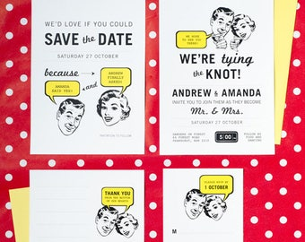 50's Retro No. 2 Unusual Wedding Set of 4 Printable
