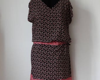 Pink, black & white dress sleeveless, size XL
