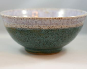 Wheel thrown blue and white pottery bowl