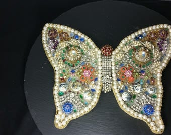 Unique Costume Jewelry Butterfly Sparkling Art One of a Kind