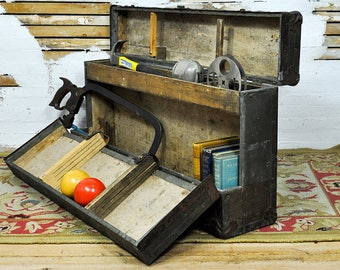 Rare Well Preserved 1950's Industrial Era Workman's Toolbox -- (Kindly Convo Us for Shipping Quotes - Shipping is not free)