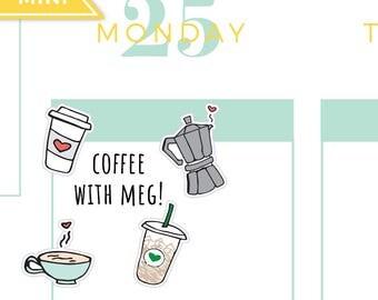 Coffee Planner Stickers, Starbucks Planner Stickers, Iced Latte Planner Stickers, Mocha Planner Stickers, Doodle Coffee Planner Stickers