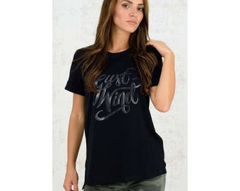 T-shirt print just wind, tee shirt, t shirt, short sleeves, one size, cotton, daily, casual