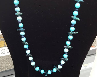 Blue Mother of Pearl and Crystal Necklace