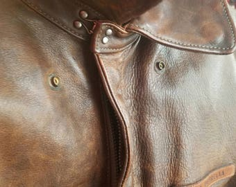 A-2 WW2 Leather Bomber Jacket - Vintage Replica by Ralph Lauren
