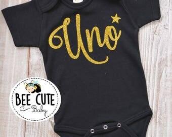 Uno, Birthday Bodysuit Baby Black Onesie  .Perfect  for Baby Photo Shoot and baby Shower gift.