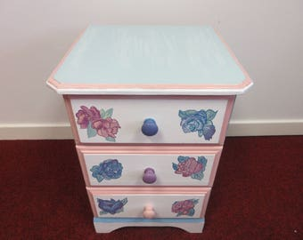 Pink & Blue Roses Drawers