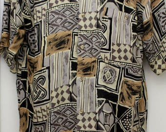 "90's Vintage ""MONTAGE"" Pour Homme Short-Sleeve Patterned Shirt Sz: Large (Men's Exclusive)"