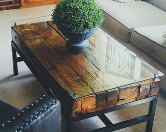 SOLD*** Handmade Railroad Tie Coffee Table with Floating Glass