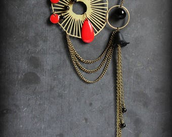 """Poppy"" art deco red and black necklace"