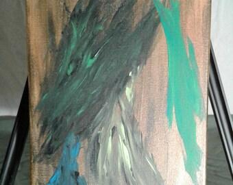 Original Abstract Painting Brown/Green Acrylic