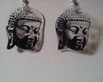 Varnished plastic Buddha earrings