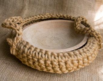 Vintage Macrame' Basket with a Wood Bowl