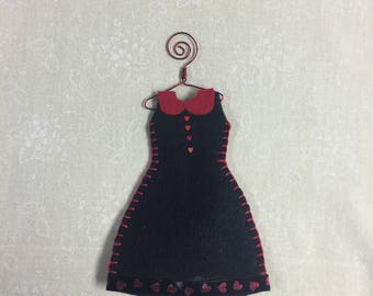 Organic Lavender Filled Sachet Dress, Black with Red Accents