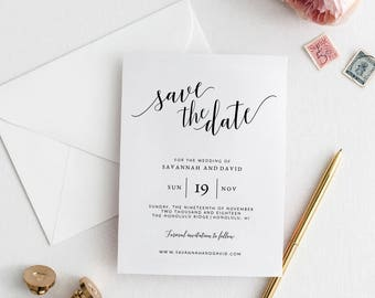 Save the Date Wedding Cards Template | Printable Save the Date Cards | Editable Wedding Save the Date Card | DIY Wedding Save the Date Cards