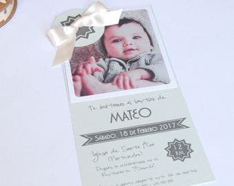 Baptism invitations boy/a cloud