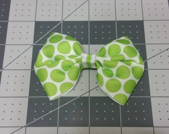 Lime Green Polka-dot Hair Bow
