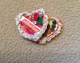 Valentine heart shape dollhouse box of chocolates