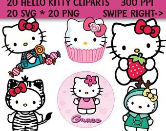 20 Hello Kitty Clip Art, Hello Kitty SVG, Hello Kitty PNG, 300 PPI, Hello Kitty Decoration, Hello Kitty Printable
