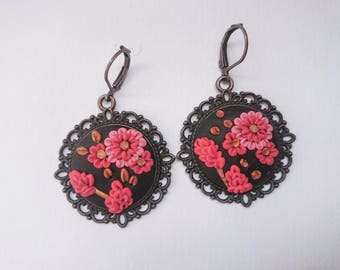 Red flower earrings/Floral earrings/Embroidery earrings / Polymer Clay jewelry/Handmade jewelry/Gift for Her/Woman jewelry/Art Deco Earrings