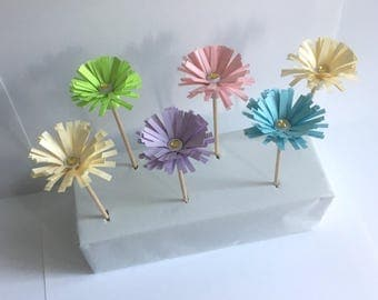 Paper Flower Cupcake Toppers! Pink/Purple/Blue/Green/Cream