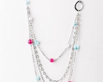 NEW Multicolored Beaded Blue And Pink Necklace Jewelry Set