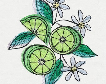 Dish Towel, Tea Towel, Fruit Towel, Kitchen Hand Towel, Hostess Gift, House Warming Gift, Embroidered Kitchen Decor, Summer, Limes