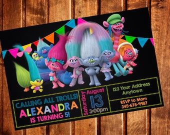 TROLLS Invitation, Trolls Birthday Party Invitation, Trolls Invite, Printable, Digital file