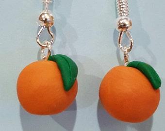 Fruity polymer earring apple orange cute colourful