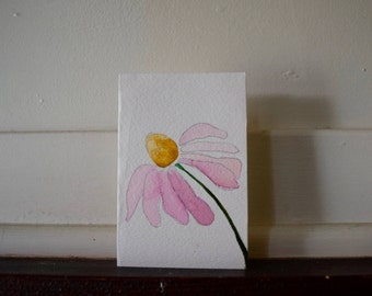 Hand Painted Cone Flower Card