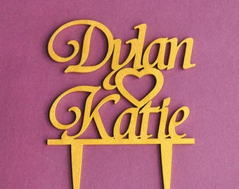Personalized Gold Wooden Heart Wedding Cake Topper Birthday Cake Topper