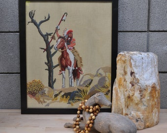 Framed Native American embroidery art //  Embroidery wall hanging // Framed art // Bohemian style