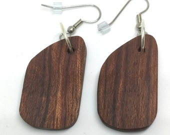 Mahogany Earrings, unique shape, kidney shape, light weight, hypoallergenic