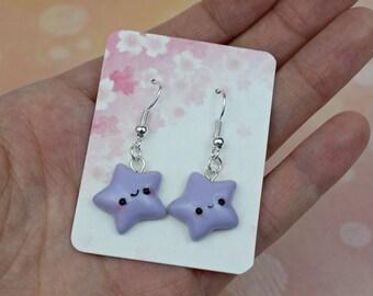 Kawaii Purple Star Earrings | Polymer Clay | Handmade Birthday Gift | Cute |