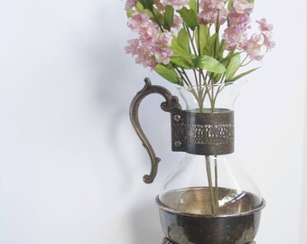 Vintage Coffee Carafe, F.B. Rogers Coffee and Tea Carafe, Vintage Silverplate and Glass Pitcher and Warming Stand