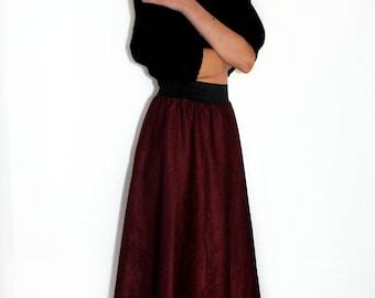 Vintage handmade high waist skirt 90's second hand fabric bordeaux