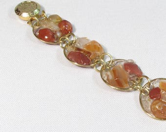 """Seven seas"" bracelet made in bronze with carnelian, citrine and quartz mosaic"