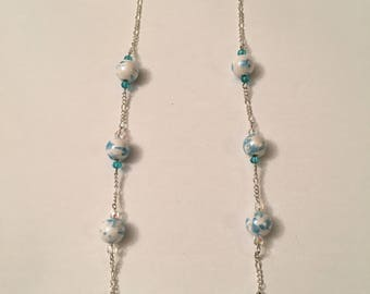 Blue/White Marble Necklace