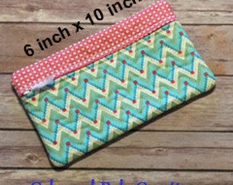 Travel Quilted Zipper Bag.Raspberry Blue Chevron.Make Up Bag.Cell Phone Case.Eyeglass Case.Toiletry Pouch.Luggage.Jewelry Bag.READY TO SHIP