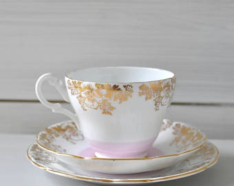 1960s Vintage Retro Pink Winston Bone China Vintage Tea Cup, Saucer and Side Plate - a Pretty Tea Cup for a Special Tea